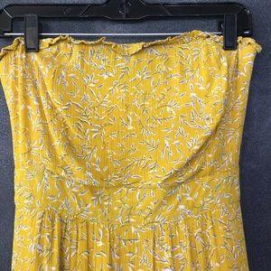 E. SSUE | Strapless Maxi Dress Mustard Leaf Print